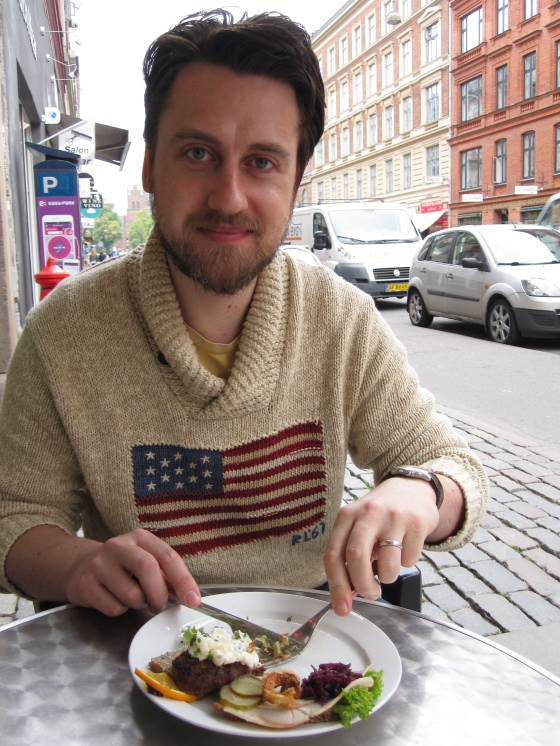 Koen enjoying his smørrebrød