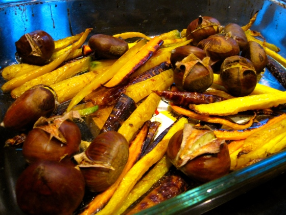 Roasted chestnuts and carrots