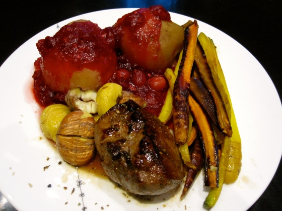 Wild boar with oven roasted chestnuts and carrots, stove pears, and cranberry sauce