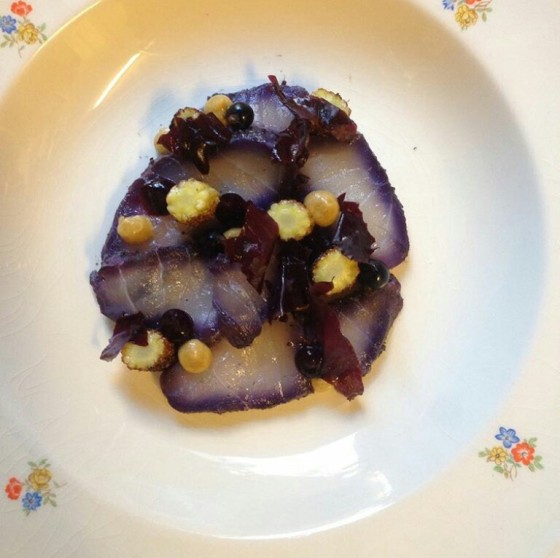 Black currant cured cod with charcoal grilled corn, pressed corn paste, and black currant