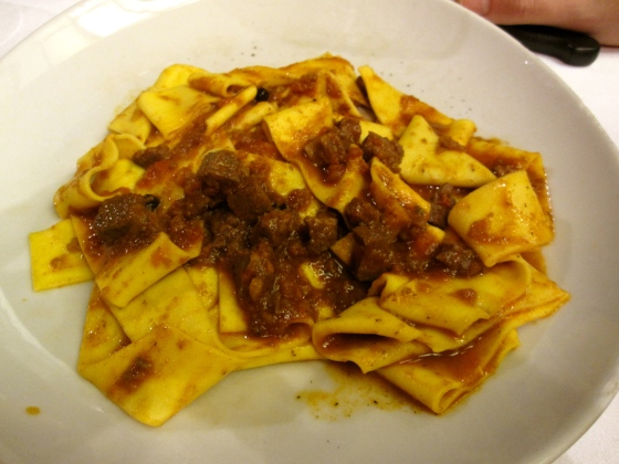 Koen's starter: homemade pappardelle with wild boar