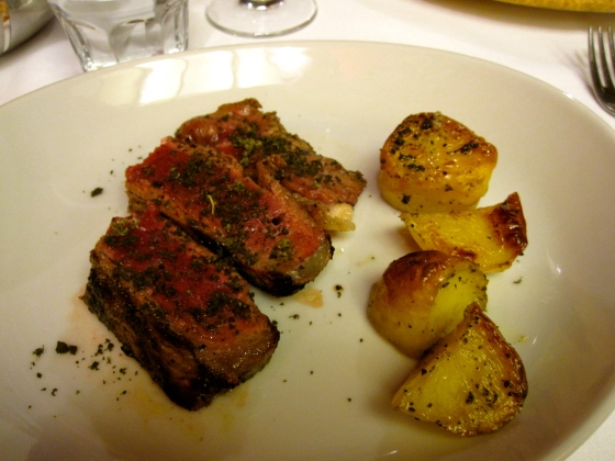 My steak topped with a sage and rosemary salt and roasted potatoes