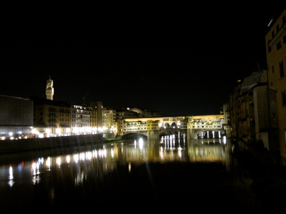 Crossing back to the otherside of the Arno; view of the Ponte Vecchio at night