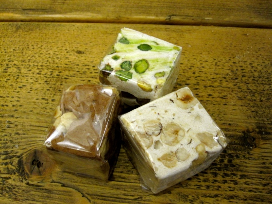 Chocolate, hazlenut, and pistachio nougat