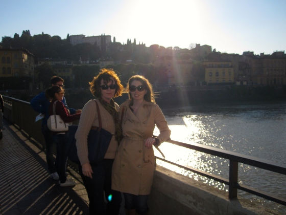 Mom and me with the Arno River