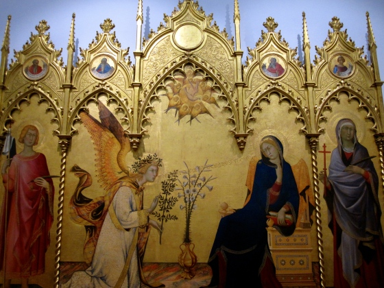 """Annunciation wtih St. Ansanus and St. Maxima; the Prophets Jeremiah, Ezekiel, Isaiah, and Daniel (in the pinnacles)"" Simone Martini and Lippo Memmi, 1333"