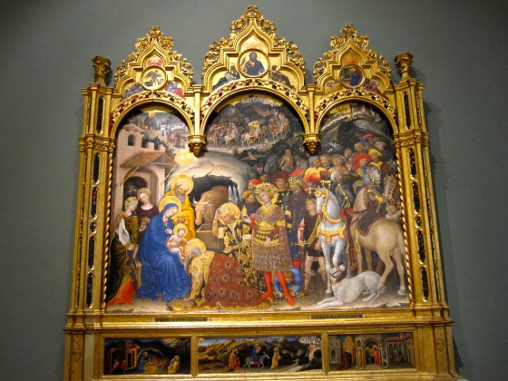 """Adoration of the Magi, Christ in Judgement, the Annunciation and Prophets, (in the pinnacles). The Nativity, the Flight into Egypt and the Presentation in the Temple (in the predella)"" Gentile Da Fabriano, 1423"