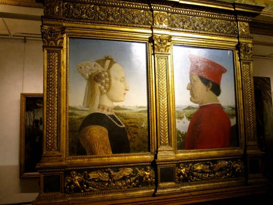 """Portraits of the Duke and Duchess of Urbino, Frederico de Montefeltro and Battista Sforza. Allegorical Triumphs of the Duke and Duchess"" Piero della Francesca, 1472 -1475"