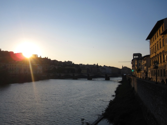 Sun setting over the Arno