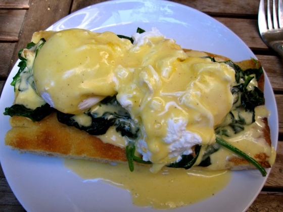 Closeup of the Eggs Florentine
