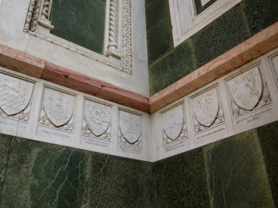 Crests lining the facade