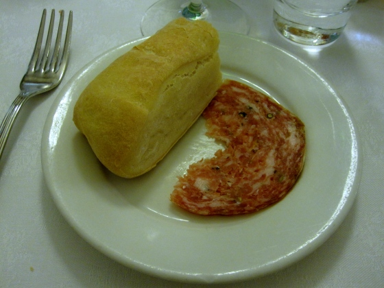 Tuscan bread and salami with fennel