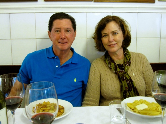 Dad and Mom with their pasta - with meat and butter sauce