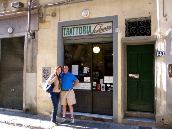 Mom and Dad in front of Trattoria Sostanza