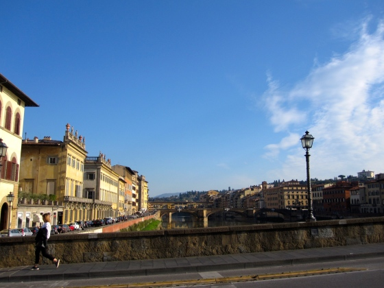 Walking across the Arno River
