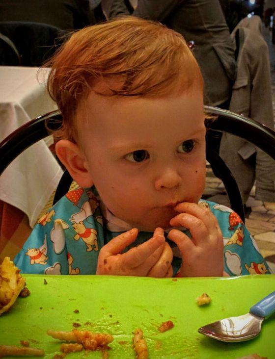 Edward's enjoying his pasta, too
