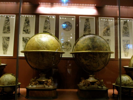 Globes made by the Venetian cosmographer Vincenzo Maria Coronelli, originally built for King Louis XIV of France
