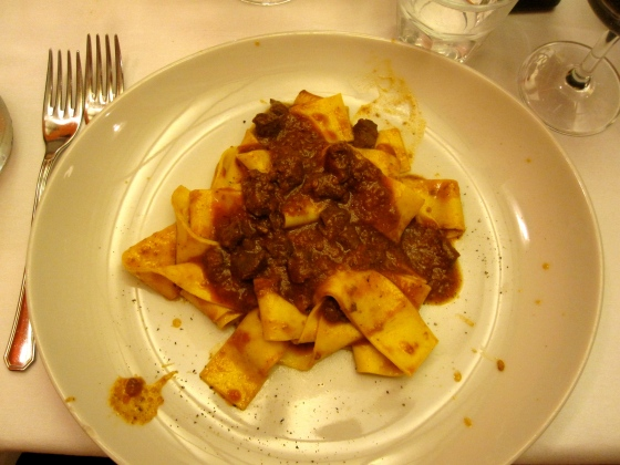 My pappardelle with wild boar as starter