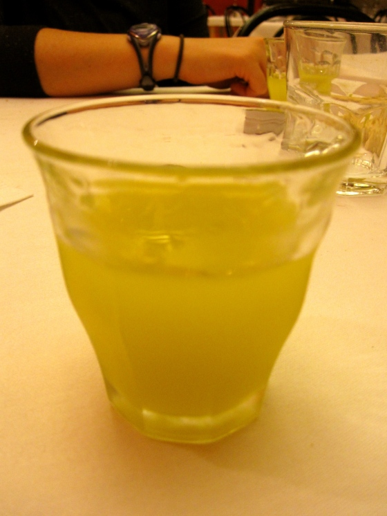Ending our huge lunch with a glass of homemade limoncello - and the owner gave Koen and me a bottle to take home!