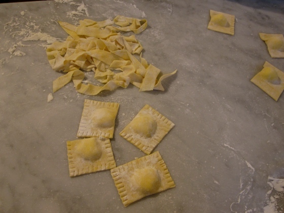 My pasta ready to be cooked! Ravioli with ricotta and tagliatelle to go with the ragu!