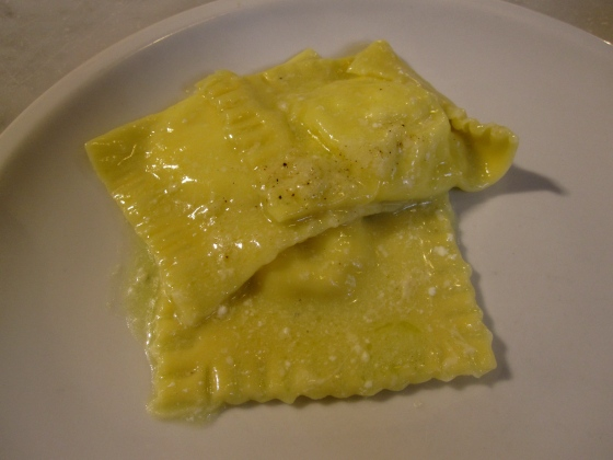 Ricotta ravioli with a butter sage sauce