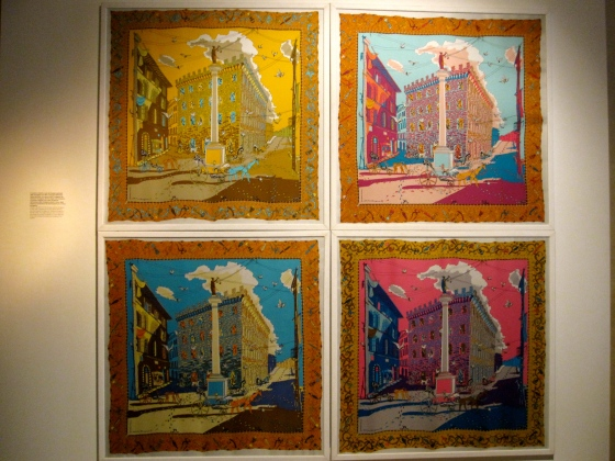 The four silk variants of the foulard made by Ferragamo in 1961 with a drawing by the artist Alvaro Monnini