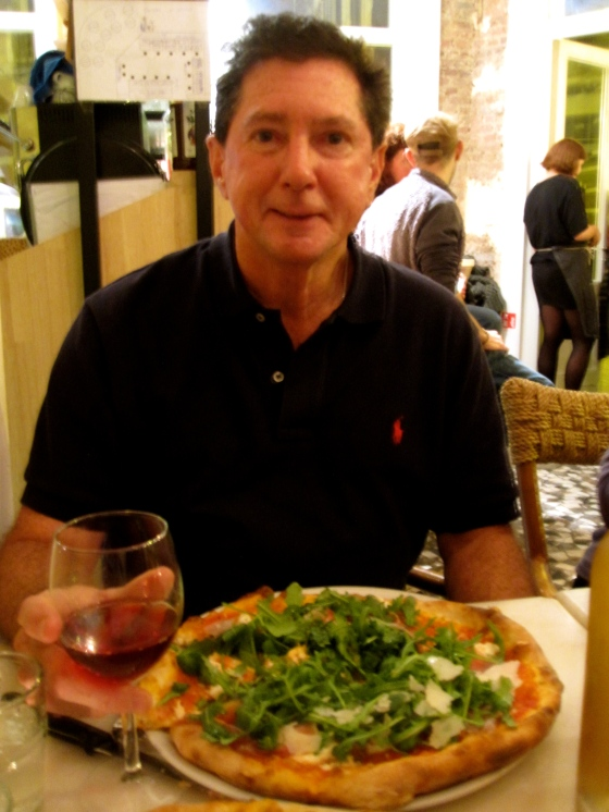 Dad with his Orso pizza