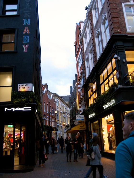Walking along Carnaby Street in Soho